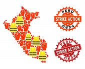 Strike Action Collage Of Revolting Map Of Peru, Grunge And Clean Stamps. Map Of Peru Collage Designe poster