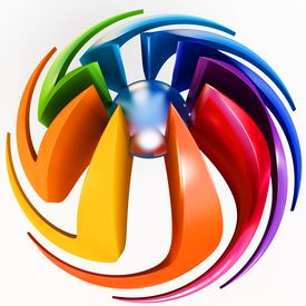 image of color wheel  - 3d sphere with color stripes isolated on white - JPG
