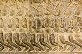 picture of mahabharata  - Bas relief of Pandava soldiers marching to the Battle of Kurukshetra as described in the Mahabharata - JPG