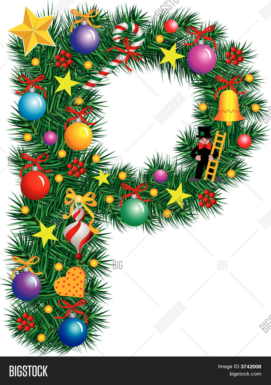 Alphabet letter p christmas vector photo bigstock for Alphabet decoration