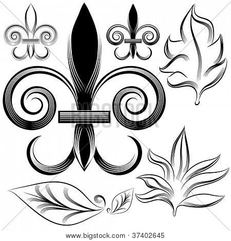 An image of a fleur leaf engraving set.
