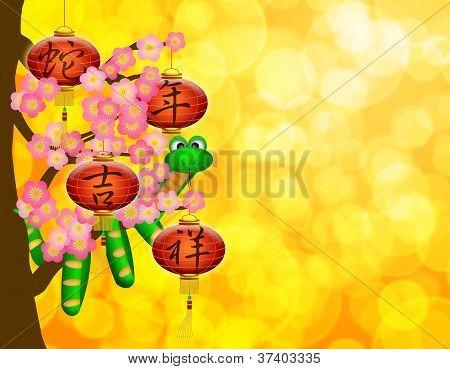 Ano novo chinês cobra com lanternas na árvore