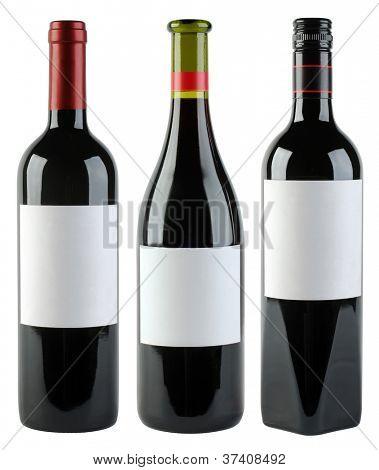 Garrafas de vinho sem rótulo isoladas com Clipping Path