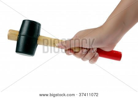 Female Hand Holding A Rubber-headed Hammer