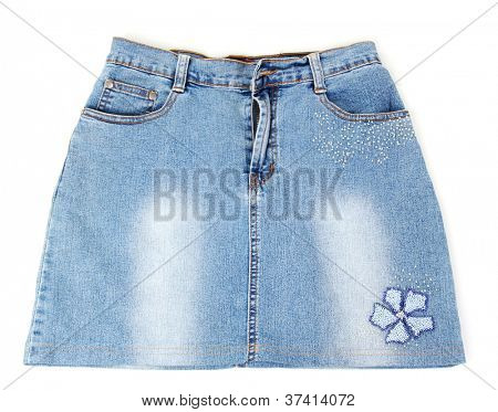 Blue denim mini skirt close-up isolated on white