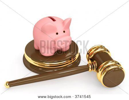 Judicial 3D Gavel And Piggy Bank