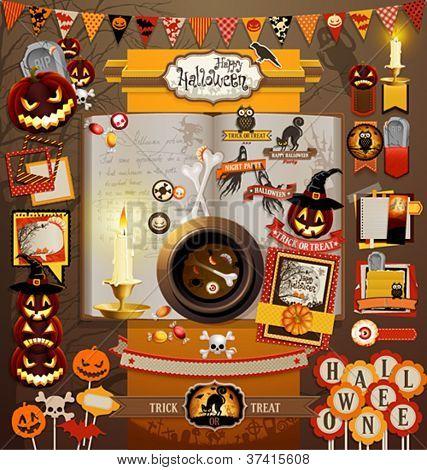 Halloween scrapbook elements. Vector illustration.