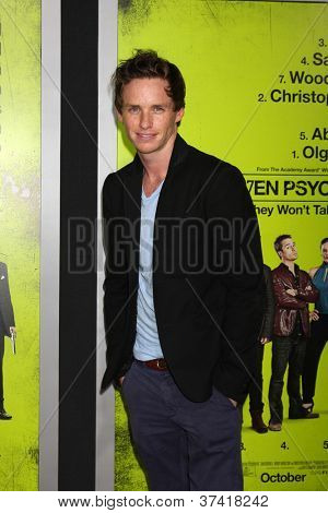 "LOS ANGELES - OCT 30:  Eddie Redmayne  at the ""Seven Psychopaths"" Premiere at Bruin Theater on October 30, 2012 in Westwood, CA"