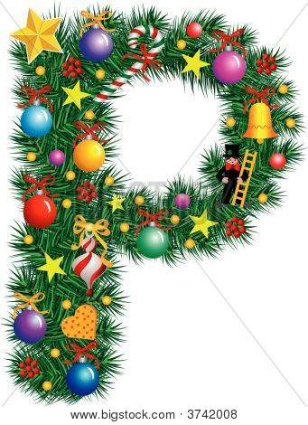 Alphabet Letter P - Christmas Decoration