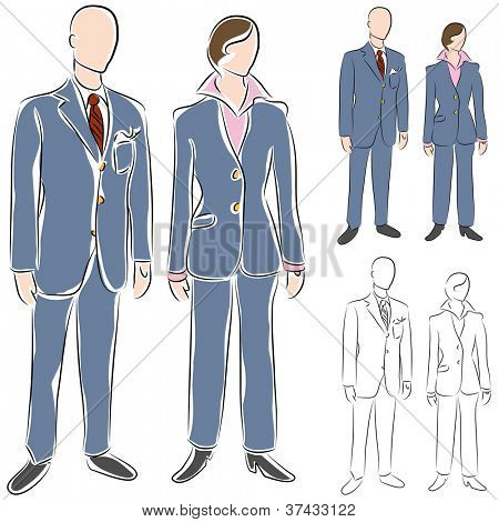 An image of a business suit drawing set.