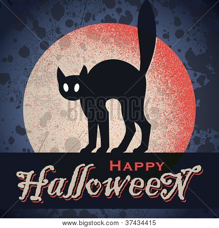 vintage grungy Halloween design (vector)