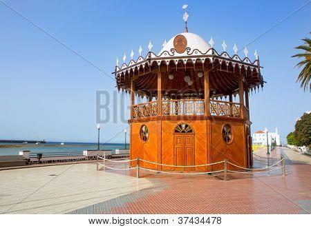 Arrecife Lanzarote Quiosco de la Musica wood circus near sea in Canary Islands