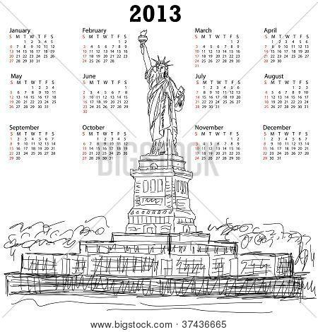 Statue Of Liberty 2013 Calendar
