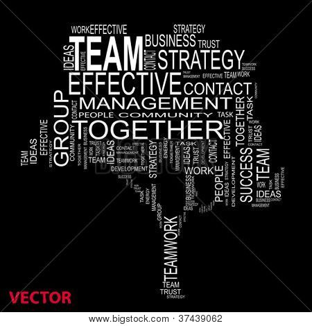 Concept or conceptual white text wordcloud or tagcloud isolated on black background ,metaphor for business,team,teamwork,management,effective,success,communication,company, cooperation,group or symbol