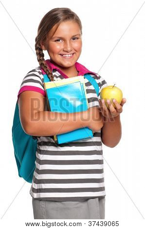 Girl with books and apple isolated on white background