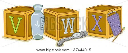 Illustration of Wood Blocks with the Letters VWX Printed on Them