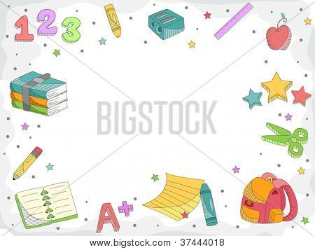 Doodle Illustration Featuring Letters, Numbers, and Miscellaneous School Supplies