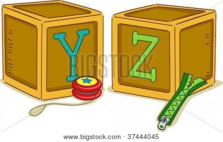 Illustration of Wood Blocks with the Letters YZ Printed on Them