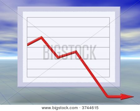 3D Concept Of Financial Crisis Business Graph Moving Down