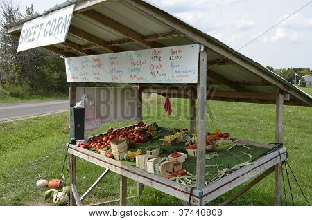Rural roadside produce stand