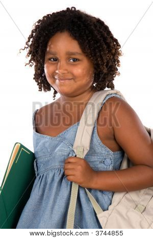 African Girl Student With Folder And Backpack