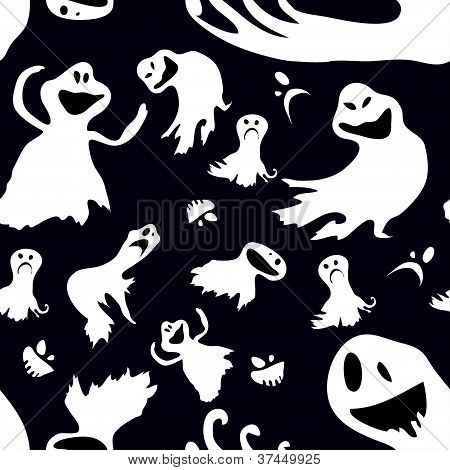 Scary. Seamless vector wallpaper with flying ghosts