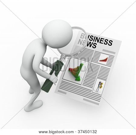 3D Man Searching Business News