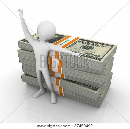 3D Man With Stoack Of Dollar