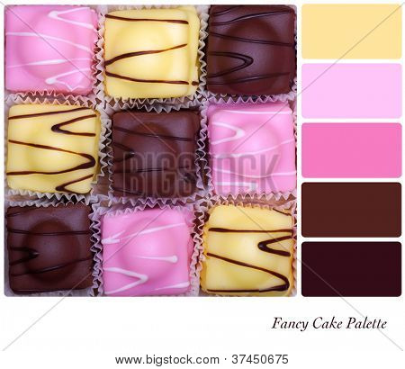 Small fancy cakes arranged in a checkerboard format. Colour palette with complimentary colour swatches.