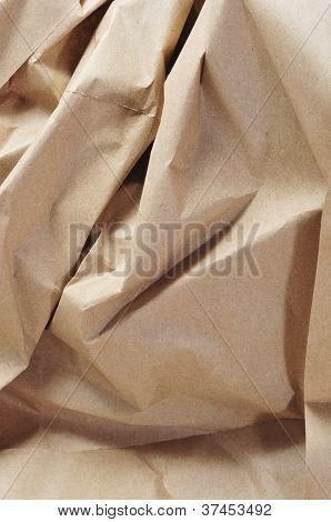closeup of crumpled Kraft paper