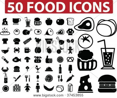 50 food icons set, vector