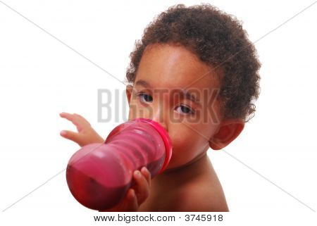Multi-Racial Baby Drinking