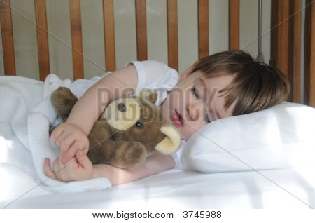 Little Boy Sleeping With Teddy Bear