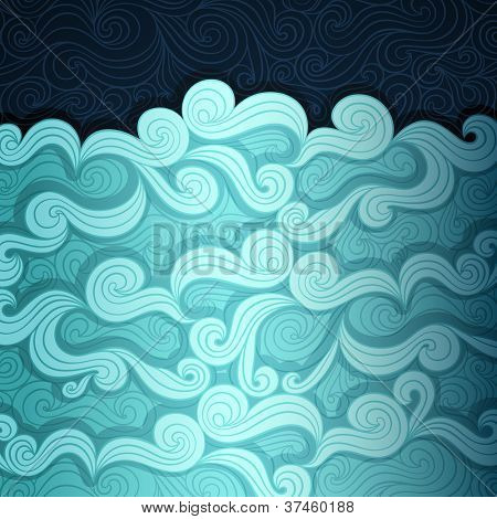 Curly water banner made of fancy paper, vector eps8 illustration