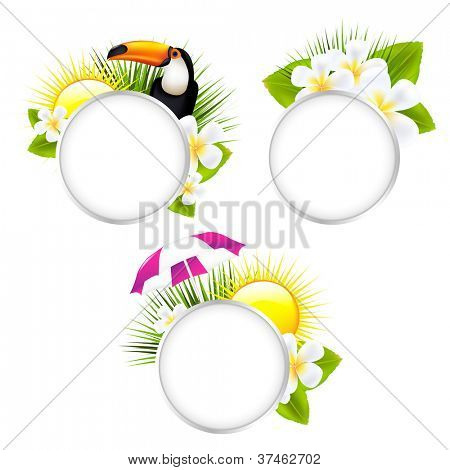 3 Speech Bubble Tropical Illustrations, Isolated On White Background, Vector Illustration