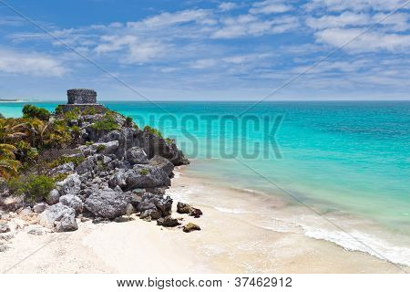 God Of Winds Temple Guarding Tulum's Sea Entrance Bay