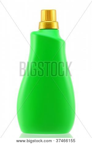 A green bottle of liquid laundry detergent for front-load washing machine,  isolated on white background