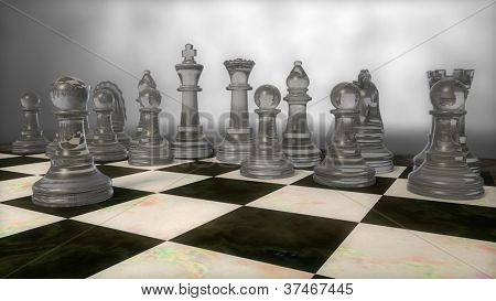 glass chess set with pawn moved