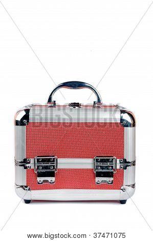A Red Metal Makeup Box