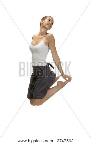 Jumping Woman Holding Her Legs