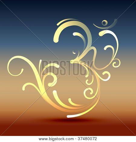 stylish hindu om symbol vector design