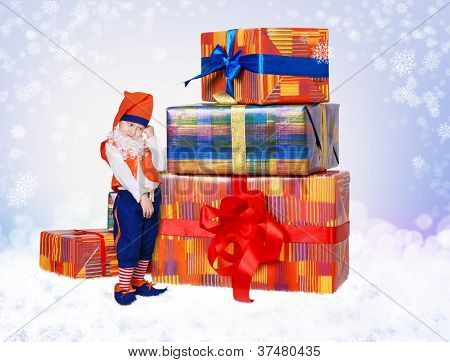 Little Gnome With Christmas Gift Boxes