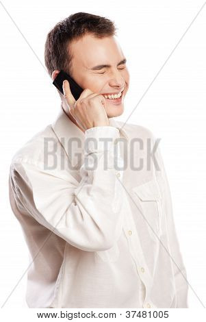 Man smiling and talking on phone isolated