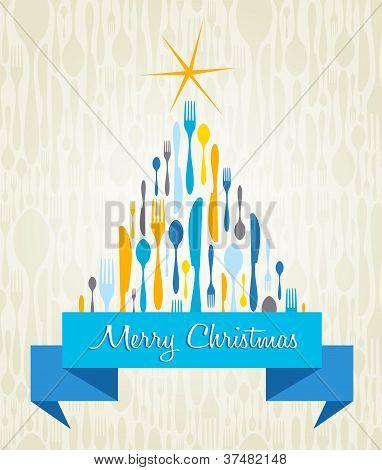 Christmas Tree Cutlery Card