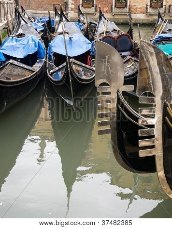 Prows And Sterns  Of Venetian Gondolas