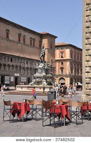 Piazza Maggiore And Neptune Fountain, Bologna, Italy