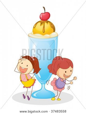 illustration of girls and ice cream on a white background