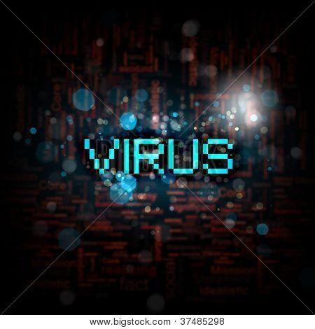 A computer virus detection symbol illustration with word Virus