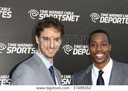LOS ANGELES - OCT 1: Pau Gasol, Dwight Howard at the Time Warner Sports Launch of TWC Sportsnet and TWC Deportes Networks at TWC Sports Studios on October 1, 2012 in El Segundo, California