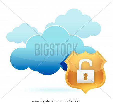 computer cloud unprotected by gold shield illustration